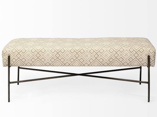 Avery II Metal Base Accent Bench - Off White Upholstered Seat