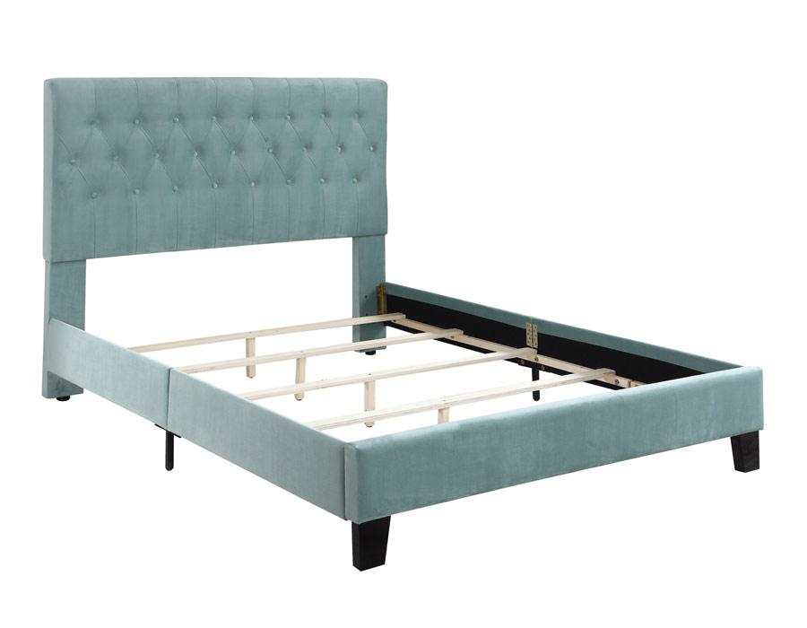 AMELIA COMPLETE UPHOLSTERED BED - LIGHT BLUE - Showhome Furniture