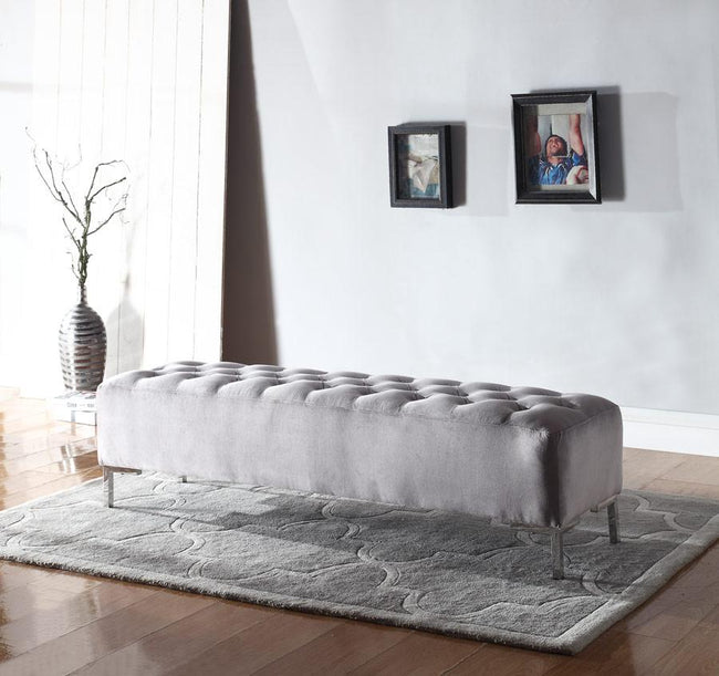Lacey Upholstered Bench - Grey | Calgary's Furniture Store