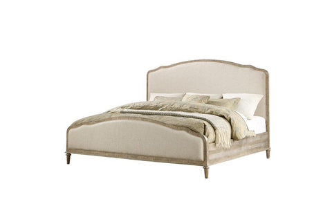 Interlude COMPLETE UPH Tufted Bed - White Linen Sandstone Finish - Emerald