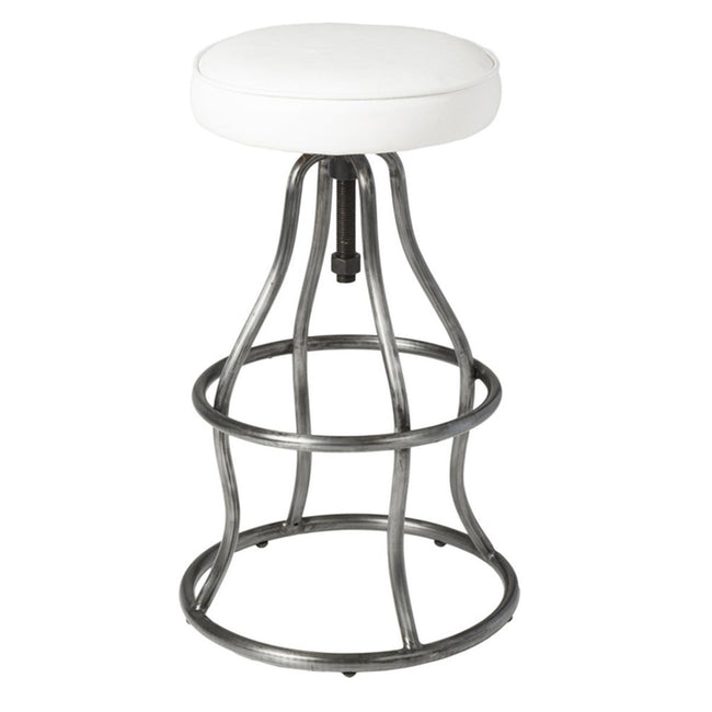 BAR STOOL - WHITE LEATHER - Showhome Furniture