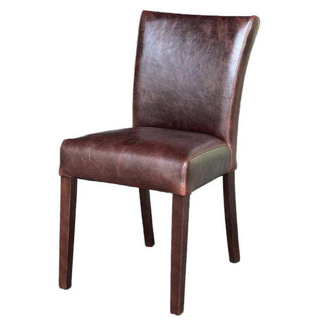 Brown Split Leather Dining Chair - Showhome Furniture