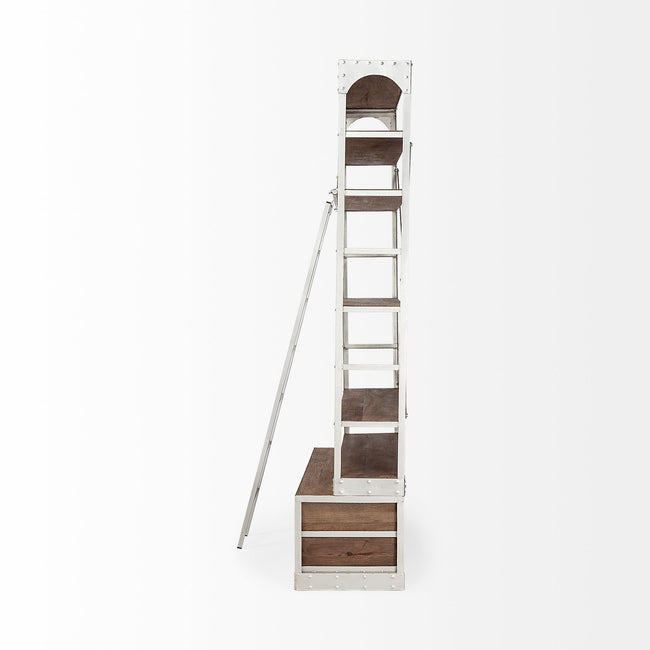 Brodie IV Shelving Unit - Medium Brown Wood Silver Ladder | Calgary's Furniture Store