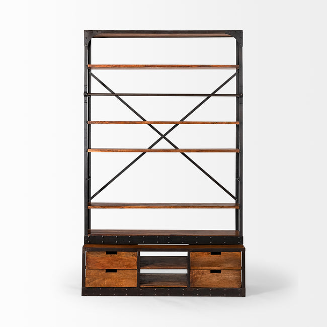 Brodie II Shelving Unit - Medium Brown Wood Copper Ladder | Calgary's Furniture Store