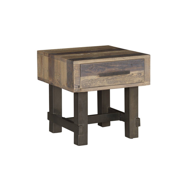 Solid recycled pine wood Side Table | Calgary's Furniture Store