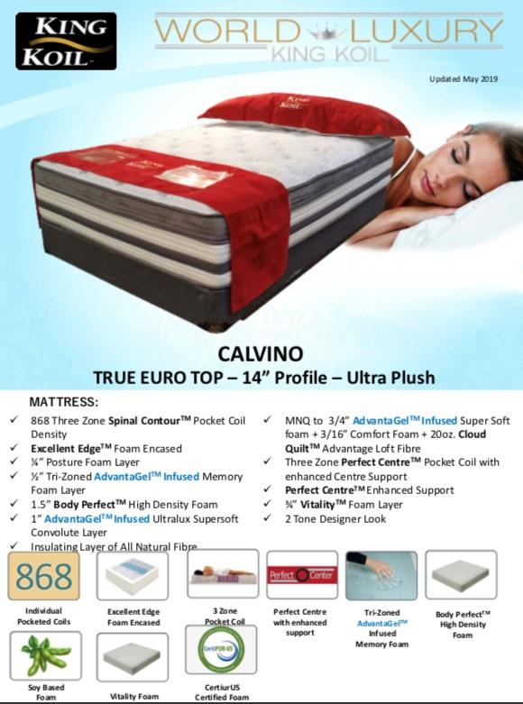 "Calvino true Euro Top 14"" Mattress - King Koil 
