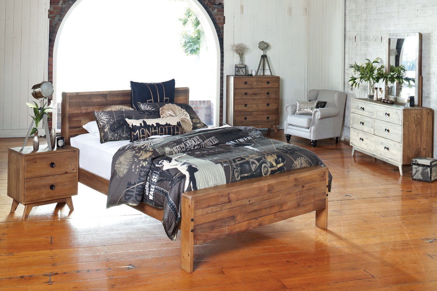 Solid Recycled Pine Wood King Slat Bed - Showhome Furniture