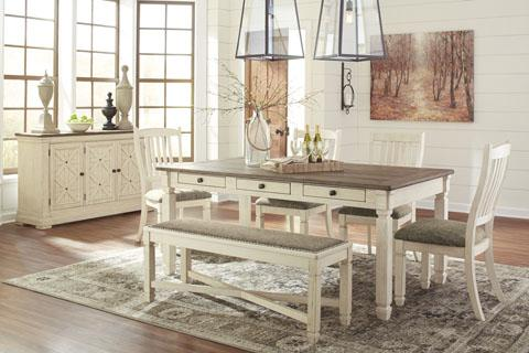 Four Chairs, Table and Bench Tables Showhome Furniture