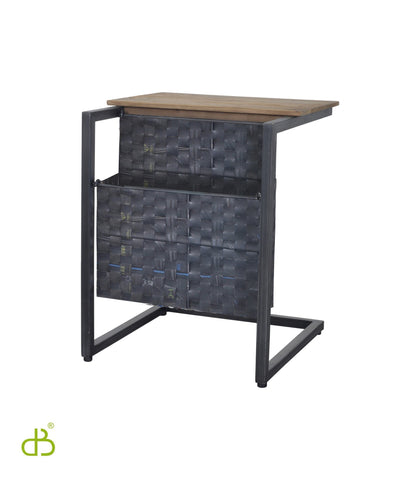 D-Bodhi Side Table with Magazine Holder w/ Recycled Tire