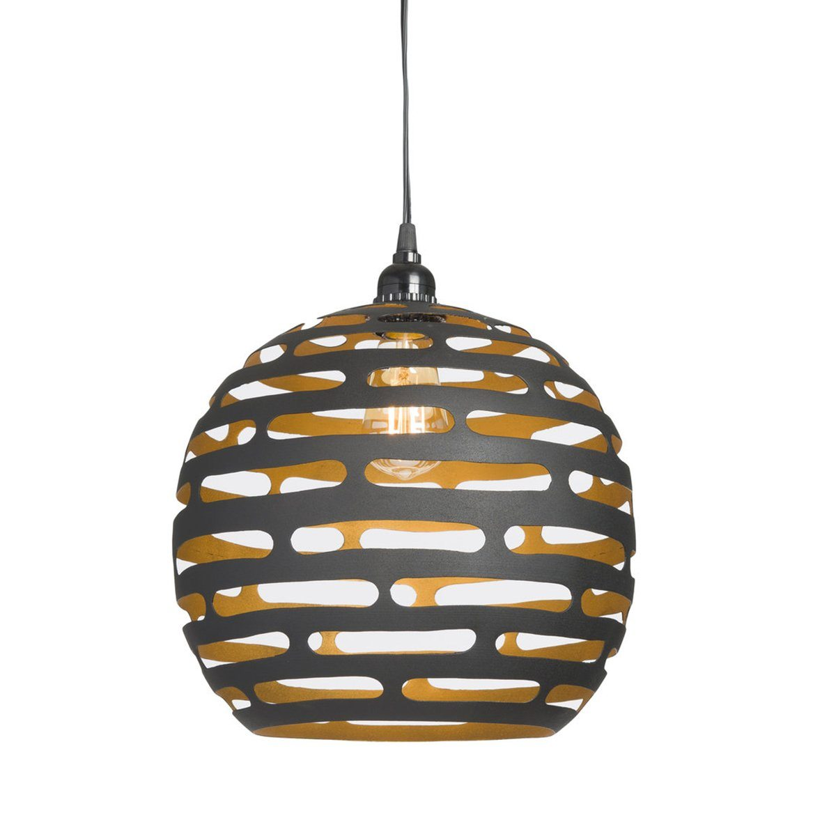 EARTH WIND FIRE LIGHTING PENDANT LARGE BLACK/GOLD - Showhome Furniture