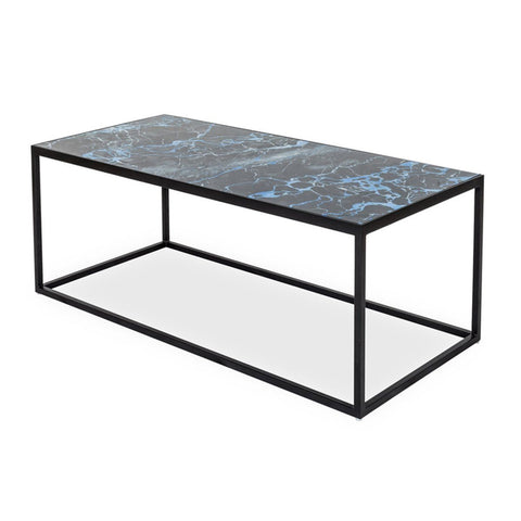 GLASS COFFEE TABLE - BLACK MARBLE - Showhome Furniture