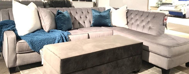 Manhattan Tufted Corner Chaise Custom Sectional, Made in Canada 🇨🇦 | Calgary's Furniture Store
