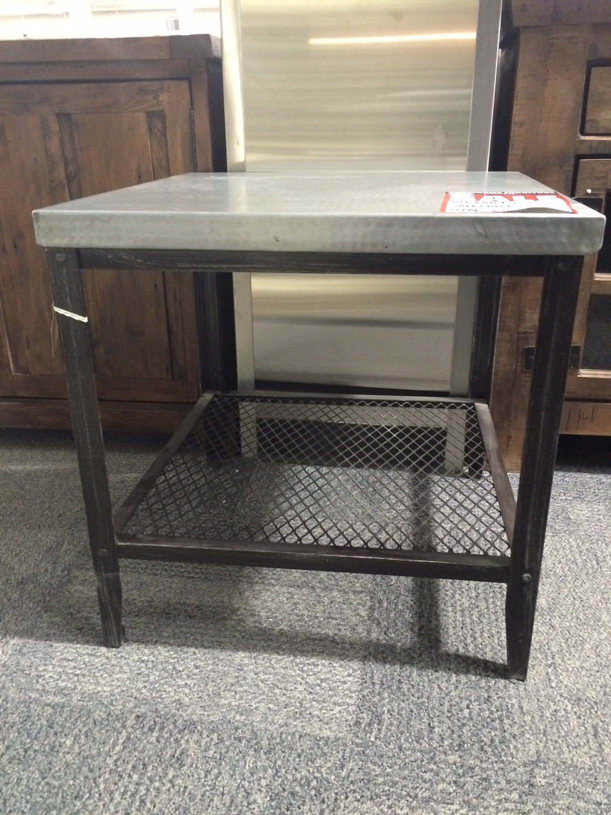 Zinc Top End Metal Table