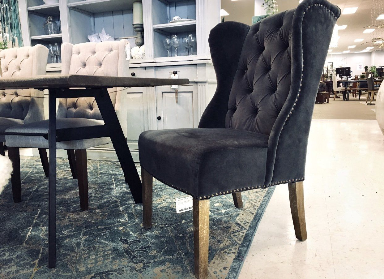 BABAR GREY VELVET CHAIR WITH OAK LEGS - Showhome Furniture