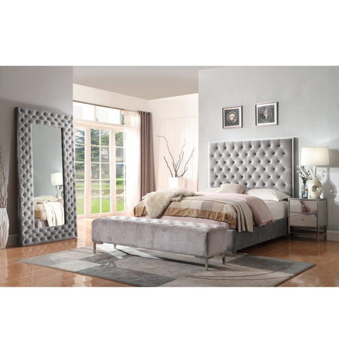 SOLID WOOD QUEEN BED - SMOKED GREY