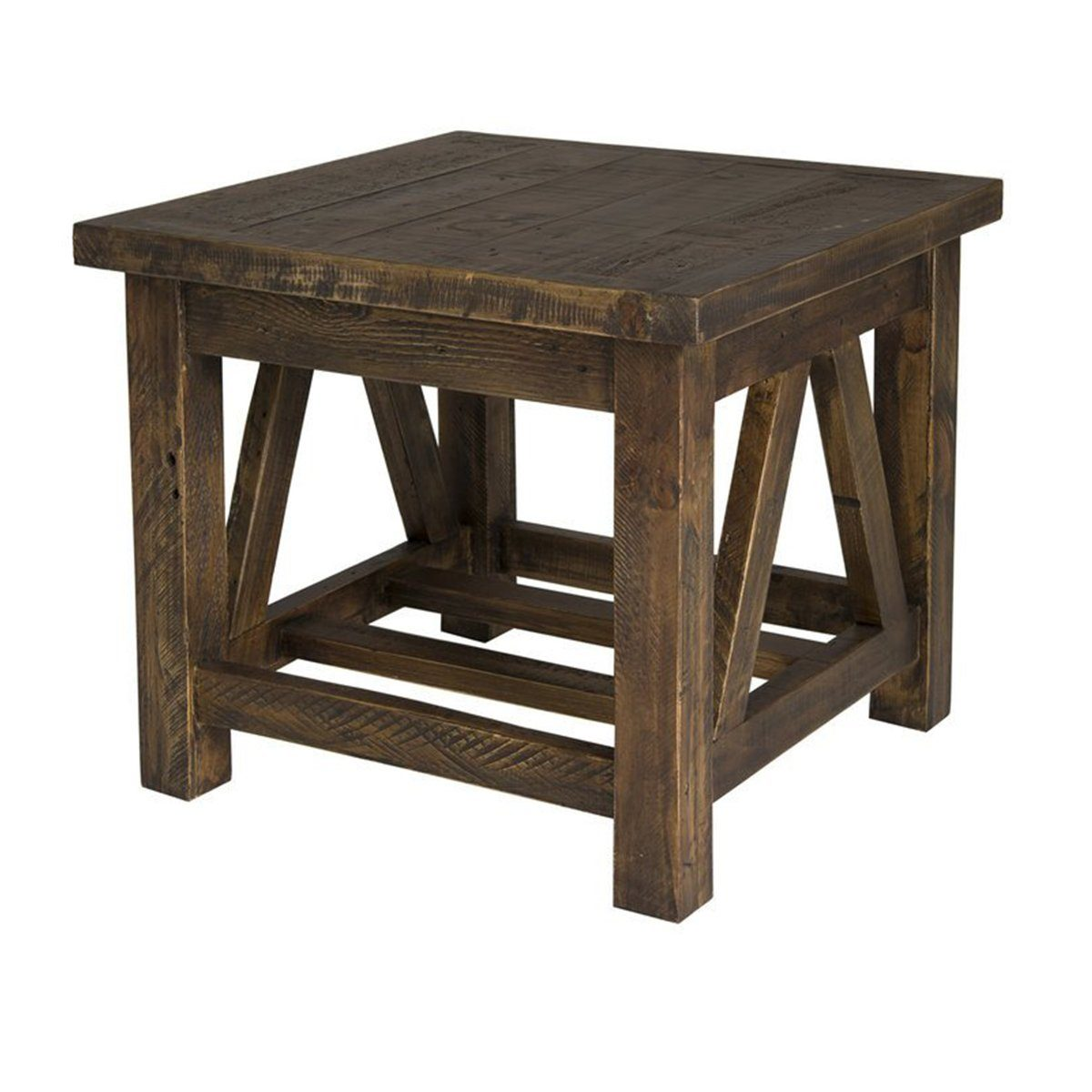 Solid Recycled Pine Wood Side Table - Smokey Brown Side Table LH