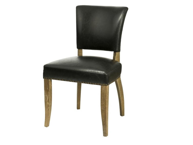 Luther Dining Chair - Black Bicast Leather | Calgary's Furniture Store