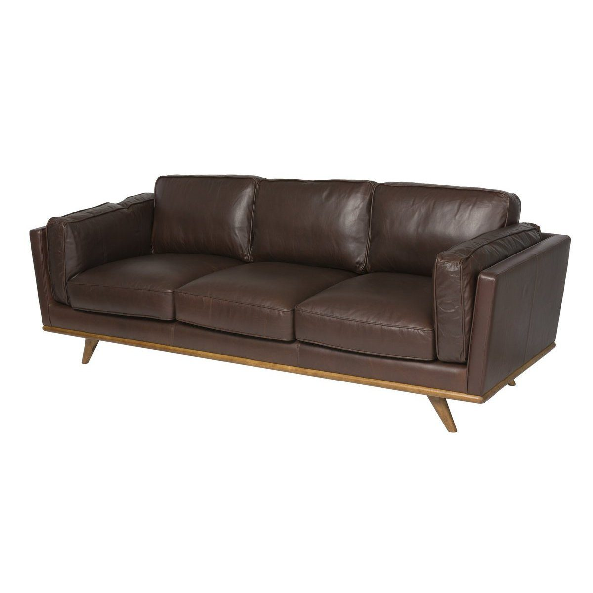 Mid-Century Mocha Leather Sofa - Showhome Furniture