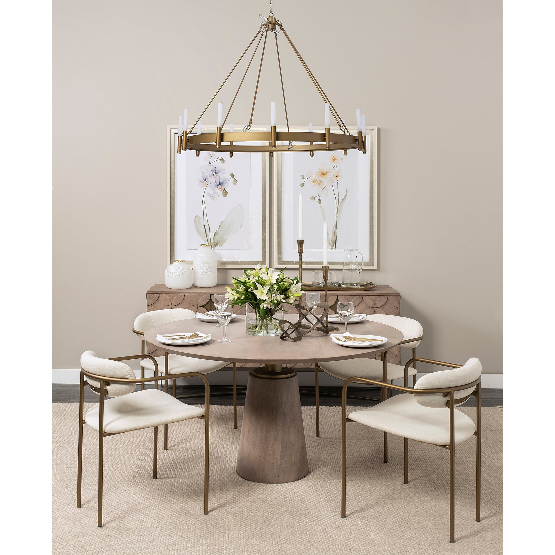 "Maxwell II 54"" Round Brown Solid Wood Top Dining Table 