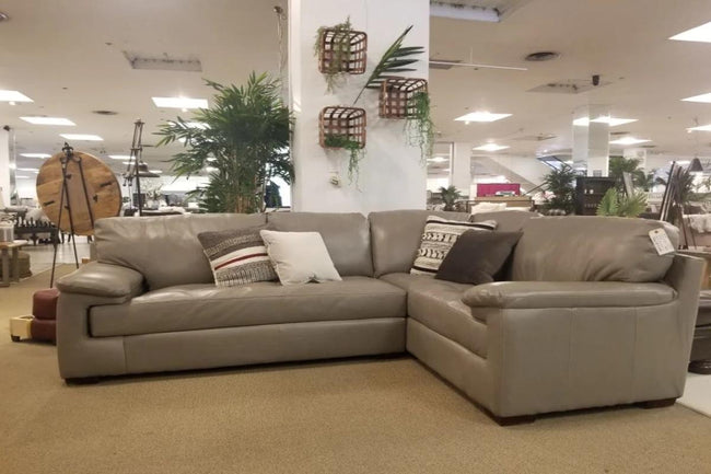 5450 Pebble Grey Leather Sectional - USA Premium | Calgary's Furniture Store