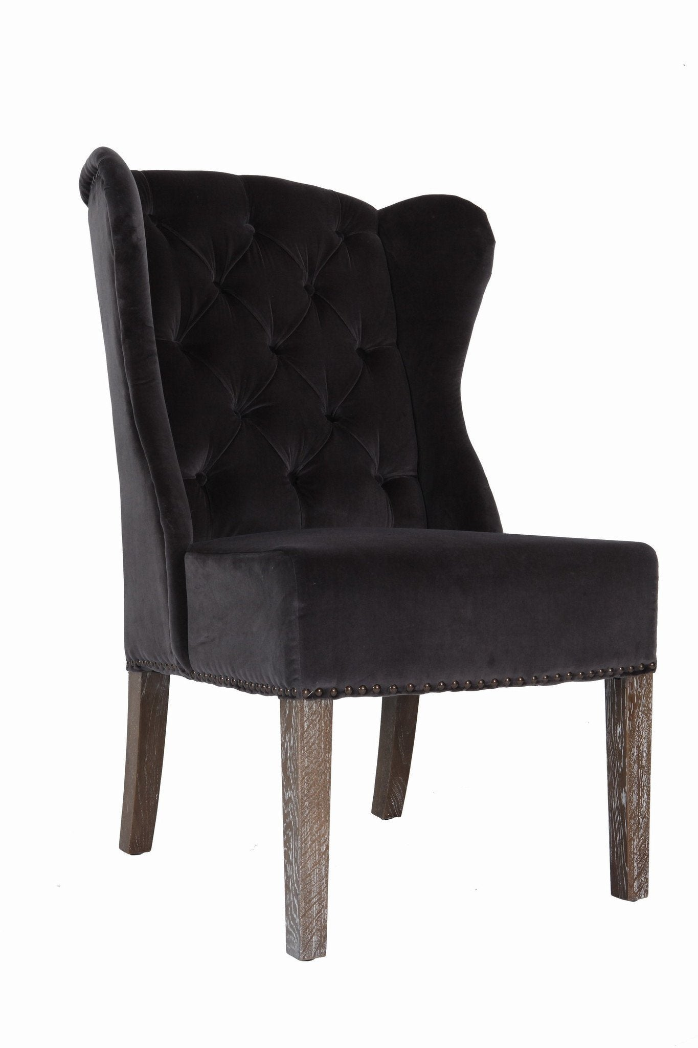 Babar Chair - Taupe Velvet/Oak Legs - Calgary Furniture
