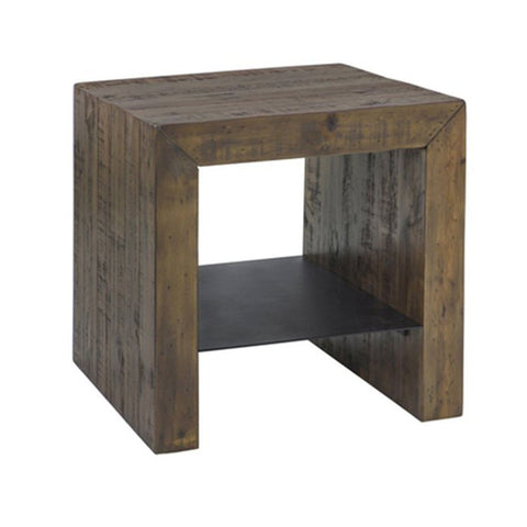 Solid Wood MODERN SIDE TABLE - COFFEE BEAN W / METALS SHELF - Showhome Furniture