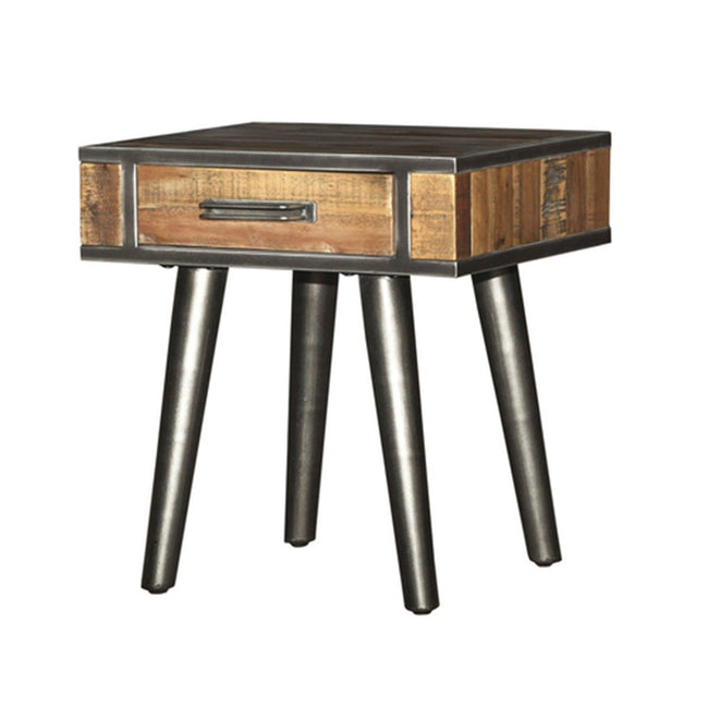 Solid Acacia Wood Vintage End Table - Showhome Furniture