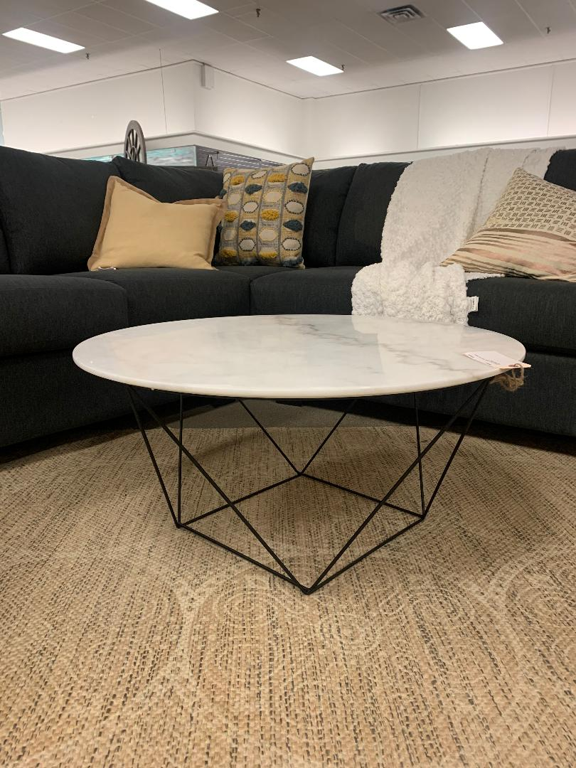 White Marble Round Coffee Table | Calgary's Furniture Store