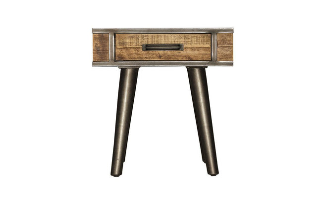 Solid Acacia Wood Vintage End Table | Calgary's Furniture Store