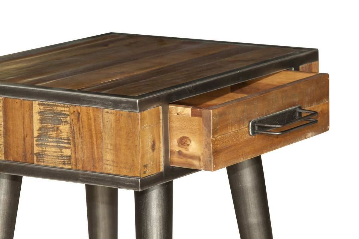 Solid Acacia Wood Vintage End Table | Showhome Furniture