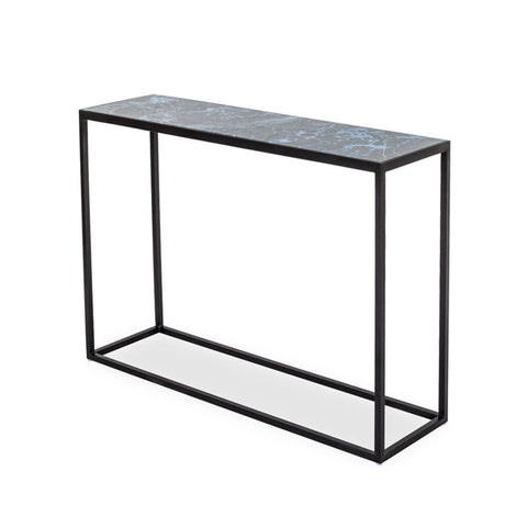 INDIGO GLASS CONSOLE TABLE - BLACK MARBLE - Showhome Furniture