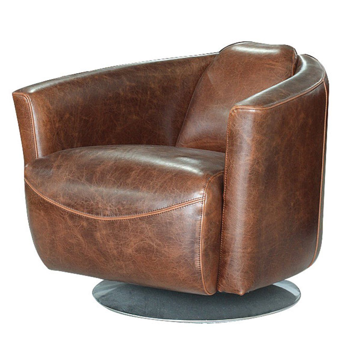 Lannister Swivel Club Chair - Leather Chairs LH