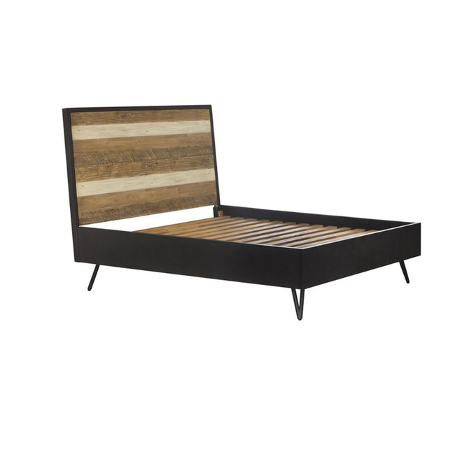 SOLID ACACIA WOOD QUEEN BED IN BLACK STONE - Showhome Furniture