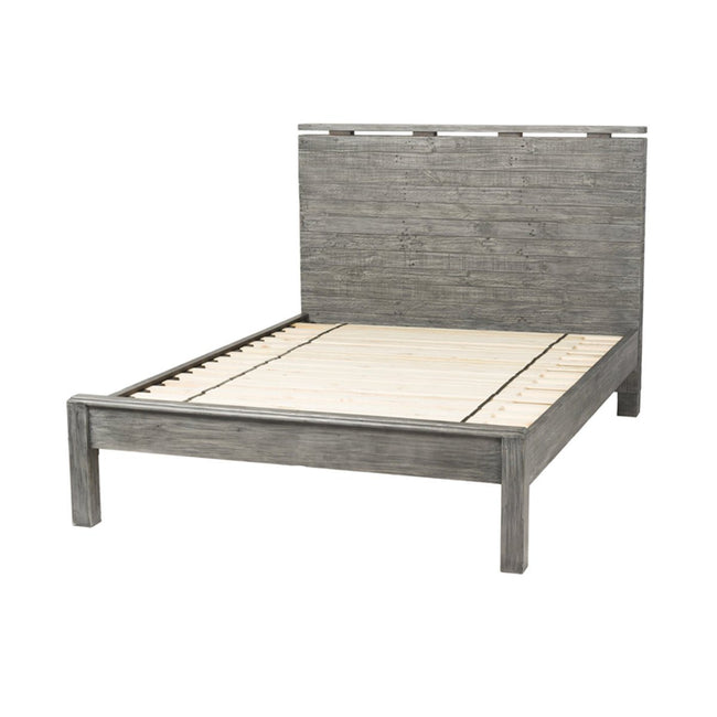 LOW FOOTBOARD QUEEN BED - GREY WASH - Showhome Furniture
