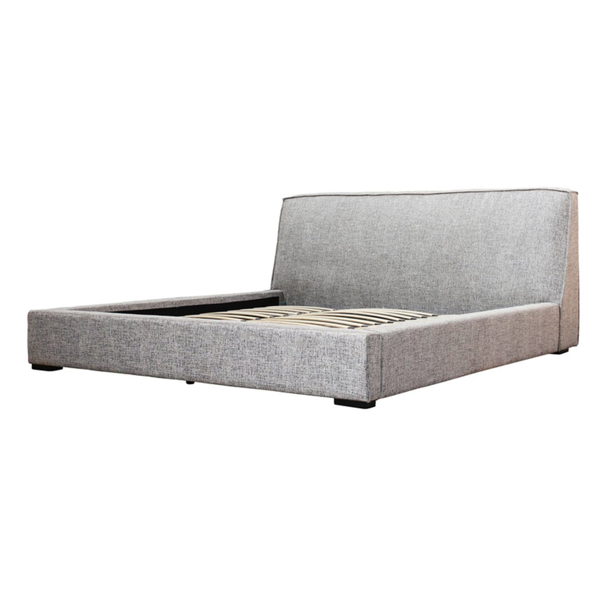 KING BED - TWEED GREY FABRIC - Showhome Furniture