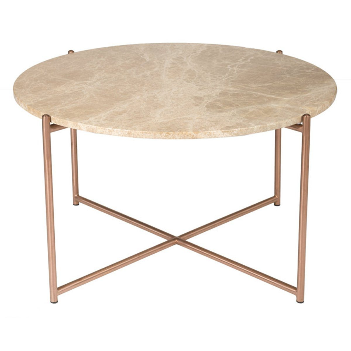 ROUND COFFEE TABLE - BROWN MARBLE + BRUSHED BRASS - Showhome Furniture