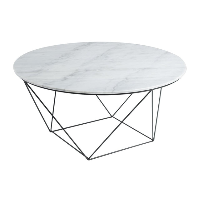 ROUND COFFEE TABLE - WHITE MARBLE + BLACK MATTE - Showhome Furniture
