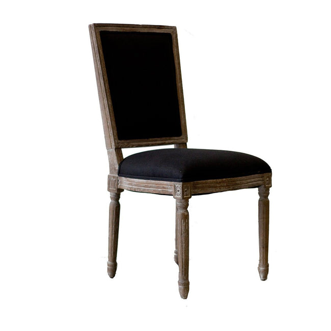 Vienna Dining Chair - Cushion Back w/ Black Linen & Oak - Showhome Furniture