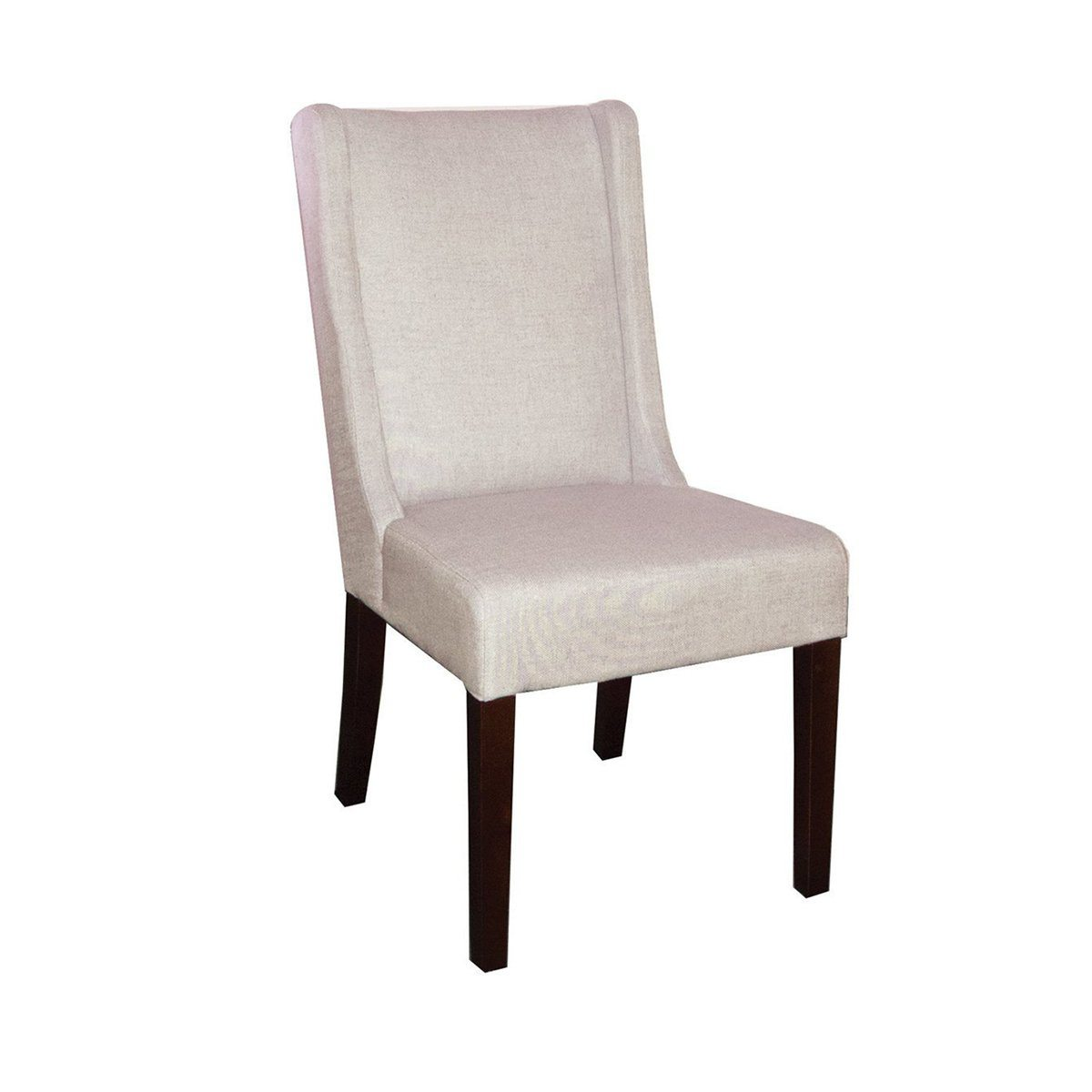Non-Tufted High Back Chair - White Russian Fabric Chairs LH