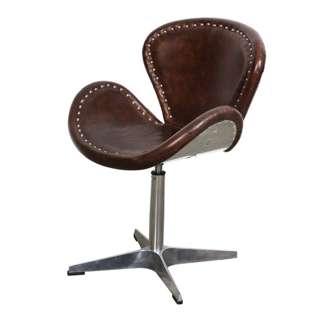 Swivel Chair - Brown Vintage Leather - Showhome Furniture