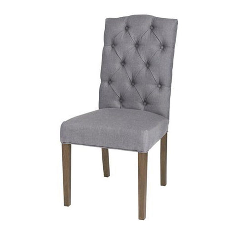 Babar Chair - Non Tufted Flax Linen & Brown legs