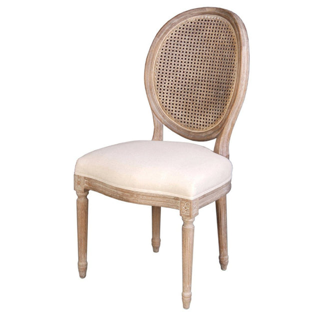 CHAIR W/ CANE BACK - ANTIQUE LINEN - Showhome Furniture