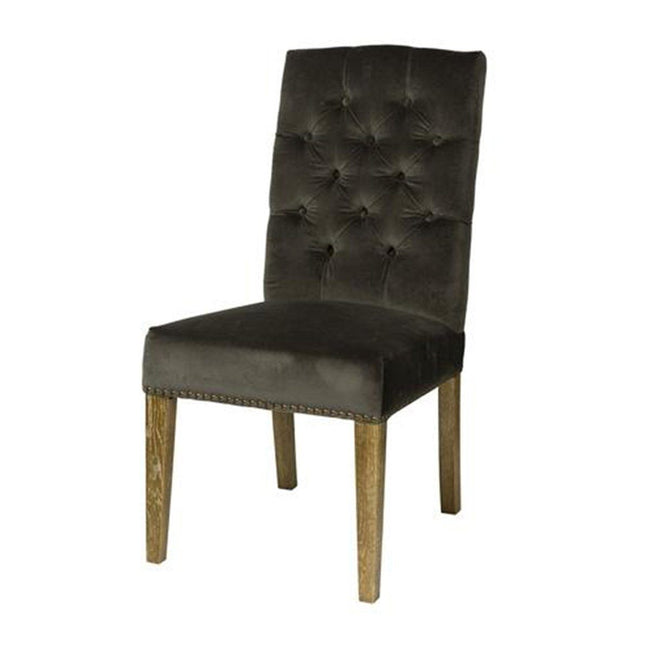SOLID WOOD DINING CHAIR TUFTED WITH VELVET FABRIC - Showhome Furniture