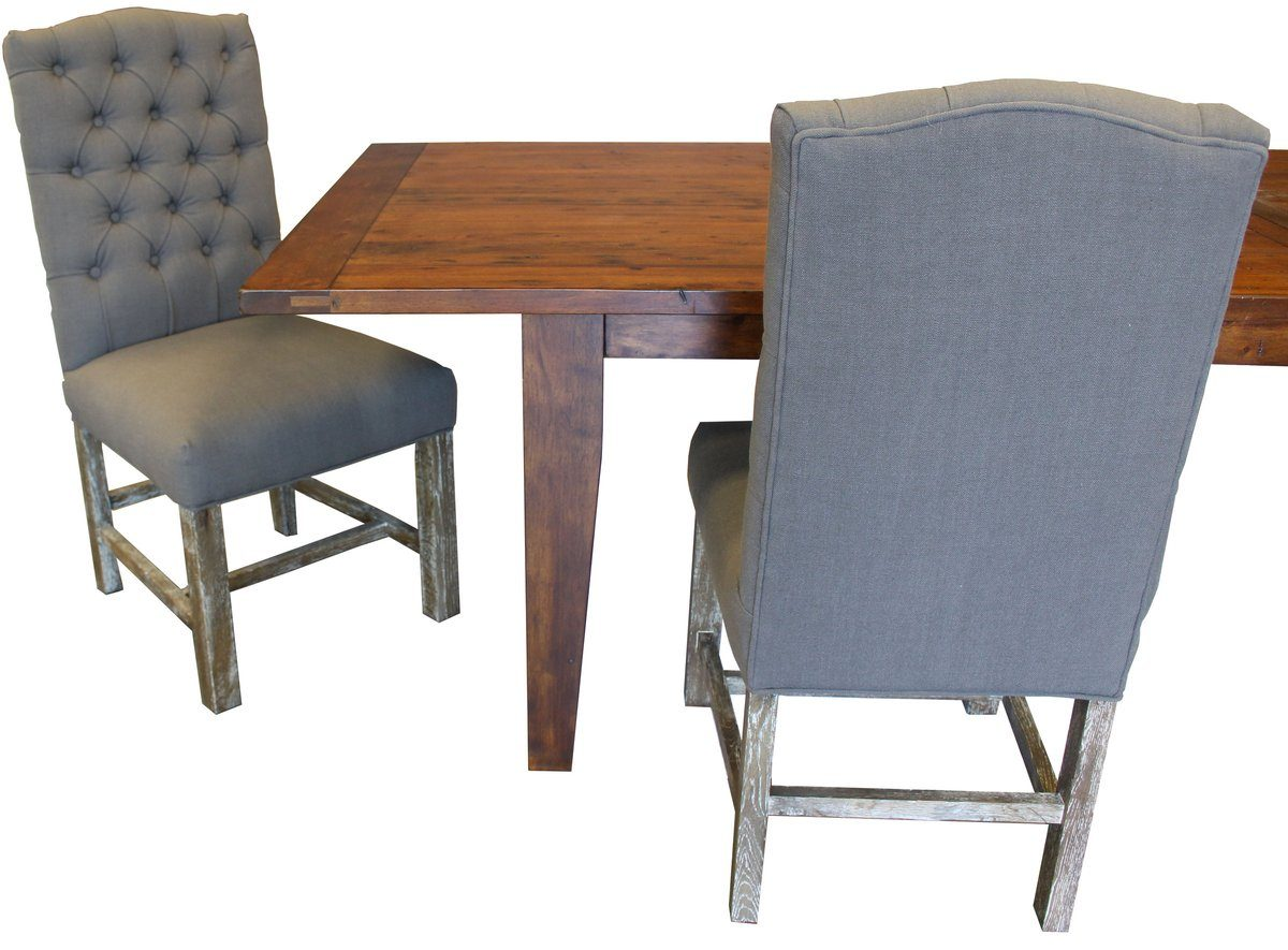 Solid Oak Dining Chair With Grey Tufted Fabric - Facebook Special $299