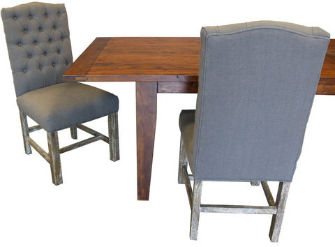 Solid Oak Dining Chair With Grey Tufted Fabric - Showhome Furniture