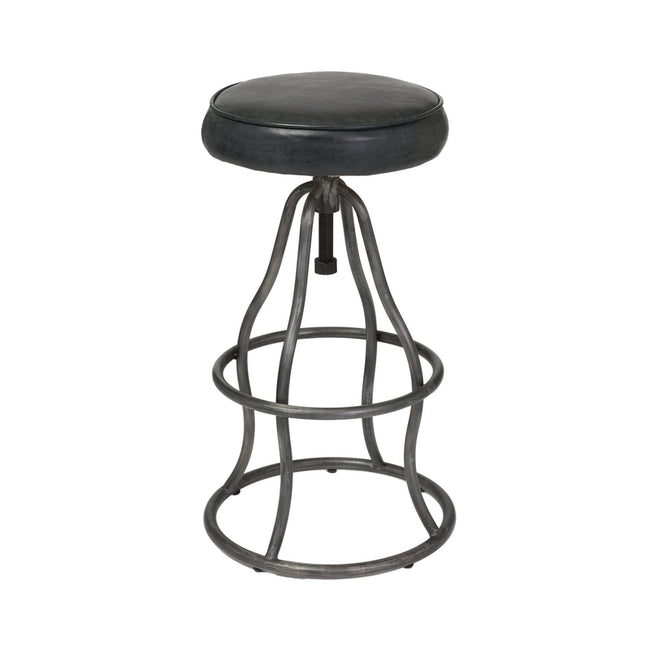 Bowie Bar Stool Leather in Black | Calgary's Furniture Store