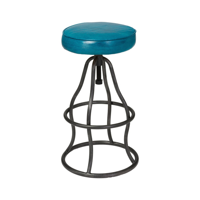 Bowie Bar Stool Leather in Teal | Calgary's Furniture Store