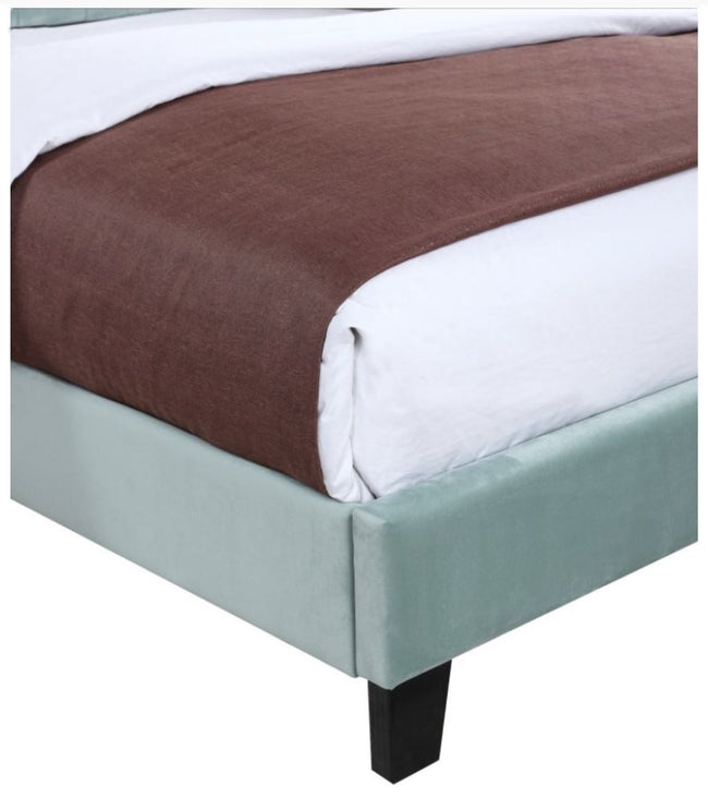AMELIA COMPLETE UPHOLSTERED BED - LIGHT BLUE | Calgary's Furniture Store