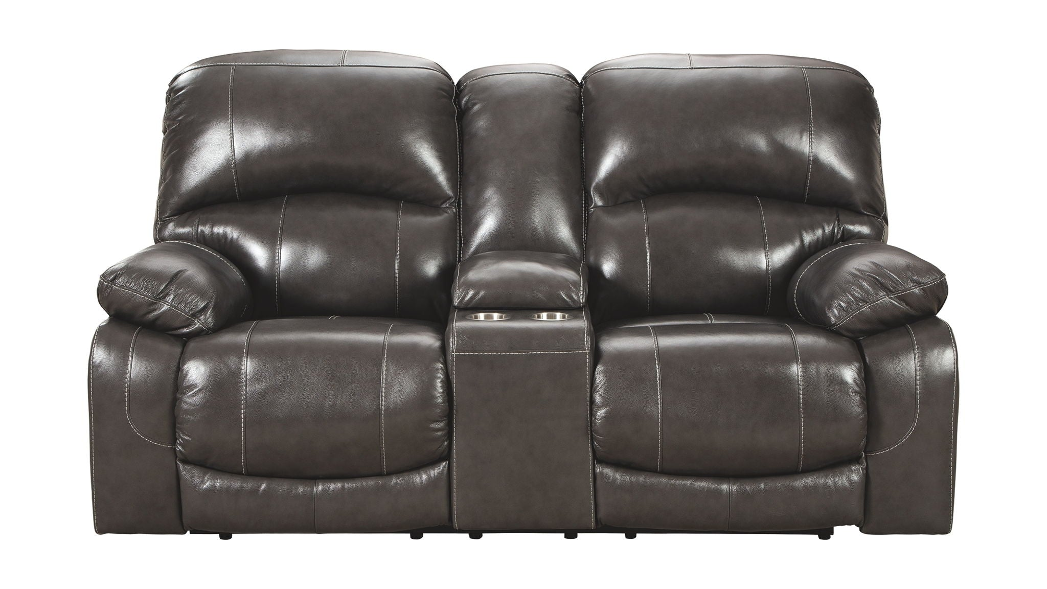 Hallstrung Power Reclining Loveseat with Console | Calgary's Furniture Store