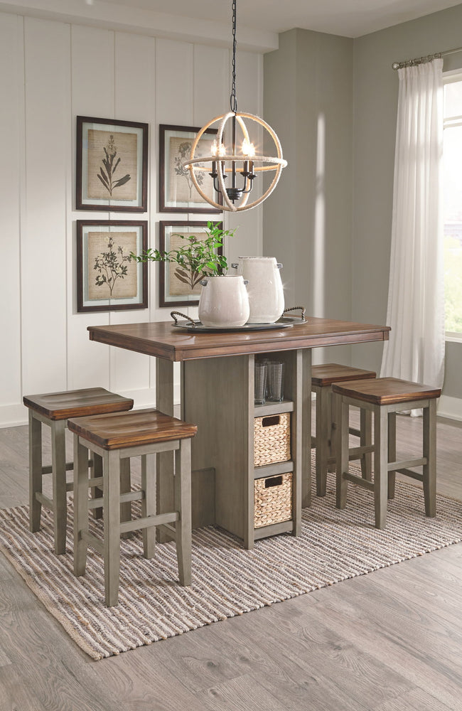 Lettner Counter Height Dining Room Table and Bar Stools (Set of 5) | Calgary's Furniture Store